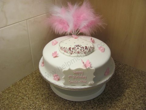 Astonishing Tiara And Butterfly Birthday Cake Help Me Bake Help Me Bake Funny Birthday Cards Online Overcheapnameinfo