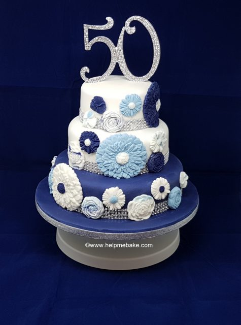 Marvelous 50Th Birthday Cake 3 Tier Flower Design Help Me Bake Help Me Funny Birthday Cards Online Aeocydamsfinfo