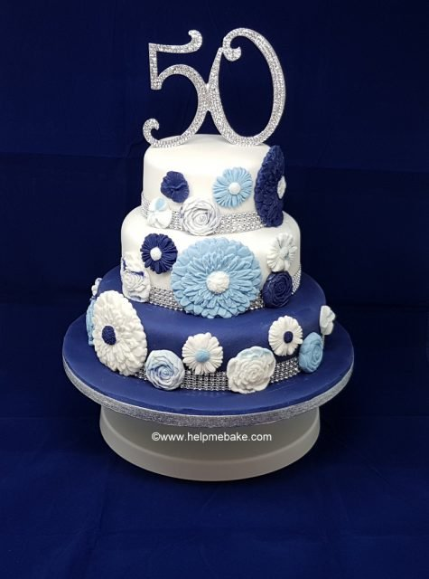 Marvelous 50Th Birthday Cake 3 Tier Flower Design Help Me Bake Help Me Funny Birthday Cards Online Alyptdamsfinfo